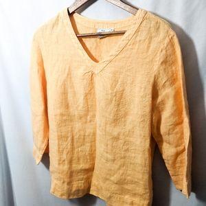 Orange 100% linen shirt medium eco friendly